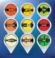 Map pins with london paris rome barcelona vector