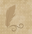 Feather calligraphic pen on vintage background vector