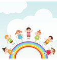 Kids jumping on the rainbow vector