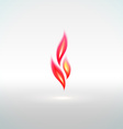 Shiny flame sign with reflection vector