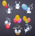 Funny rabbits with balloons vector