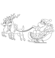Outlined santa sleigh vector
