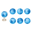 Set - blue globes of earth vector
