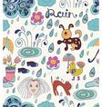 Rain cartoon seamless background with funny vector