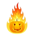 Halloween pumpkin on fire vector