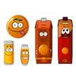 Cartoon orange and juice characters vector