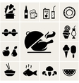 Set of black silhouette food icons vector