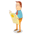 Standing and reading newspaper vector