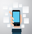 Businessman hands using mobile phone vector