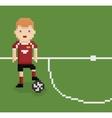 Pixel art style football soccer player on green vector