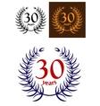 30 years anniversary laurel wreath vector