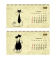Calendar 2014 with black cats on grunge paper vector