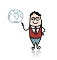 Businessman and globe sketch for your design vector
