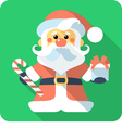 Santa claus standing with gifts icon flat design vector