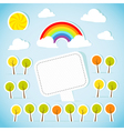 Abstract paper banner with forest and rainbow vector