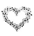 Music from heart sketch cartoon vector