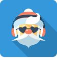 Hipster santa claus face icon flat design vector