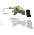 Hand holding white blank card in engraved style vector