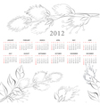 Template for calendar 2012 with flowers vector