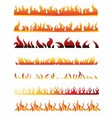 Set of fire border element line frame vector