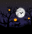 Forest with pumpkins bats and cats vector