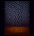 Wood room with wallpaper blue vector