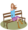 Woman sitting on a bench vector
