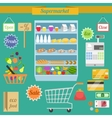 Supermarket flat set vector
