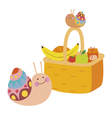 Fruit basket and snails vector