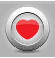 Gray chrome button with red heart vector