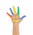 Smiling colorful hand raised up vector