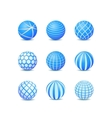 Set of blue abstract round stripe ball icon vector
