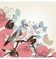 Orchid flowers and bird retro background vector