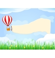 Balloon in blue sky with placard copy space vector