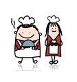 Chief cook with assistant girl cartoon for your vector