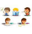 Kids studying vector
