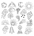 Objects of nature design elements vector