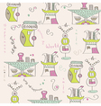 Seamless pattern with surreal houses vector