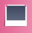 Photo frame on wall with pink pins on pink vector