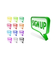Bubble sign up icon set vector