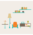 Furniture set over light grey vector