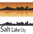 Salt lake city skyline in orange background vector