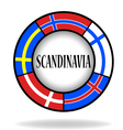 Scandinavian flags in a circle vector