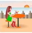 Beautiful girl on the beach cafe vector