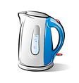 Drawing of the blue teapot kettle vector