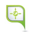 Arrows and globe green pointer vector