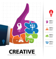 Info graphic template with businessman hand jigsaw vector