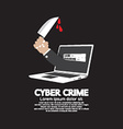 Knife in hand cyber crime concept vector