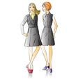 Two fashion beautiful girls vector