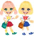 Smiling blonde cute schoolgirls vector